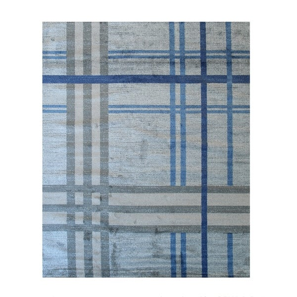 Blue Contemporary Geometric Porya Rug
