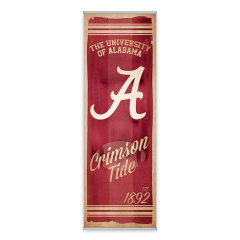 Alabama Crimson Tide Watercolor Printed Canvas Banner