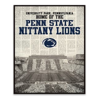 Penn State Nittany Lions Newspaper Stadium Framed Printed Canvas