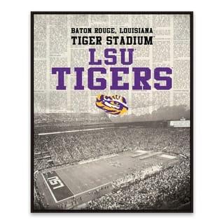 LSU Tigers Newspaper Stadium Framed Printed Canvas