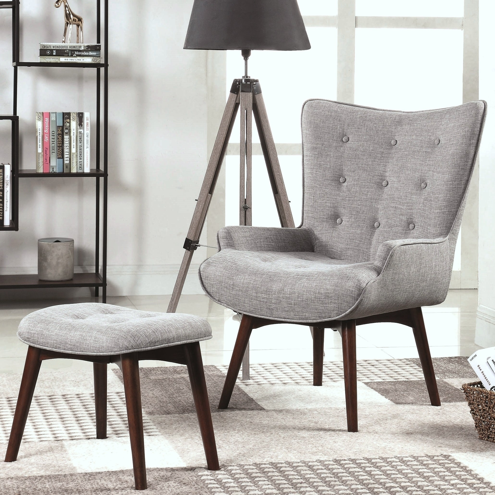 Mid-Century Modern Design Living Room Accent Chair with Matching Ottoman -  3-Chair, 3-Ottoman