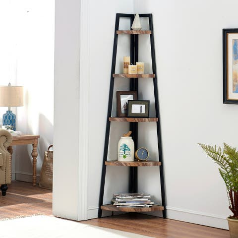 Carbon Loft Sayssauk Free-standing Industrial Corner Shelf in Distressed Wood