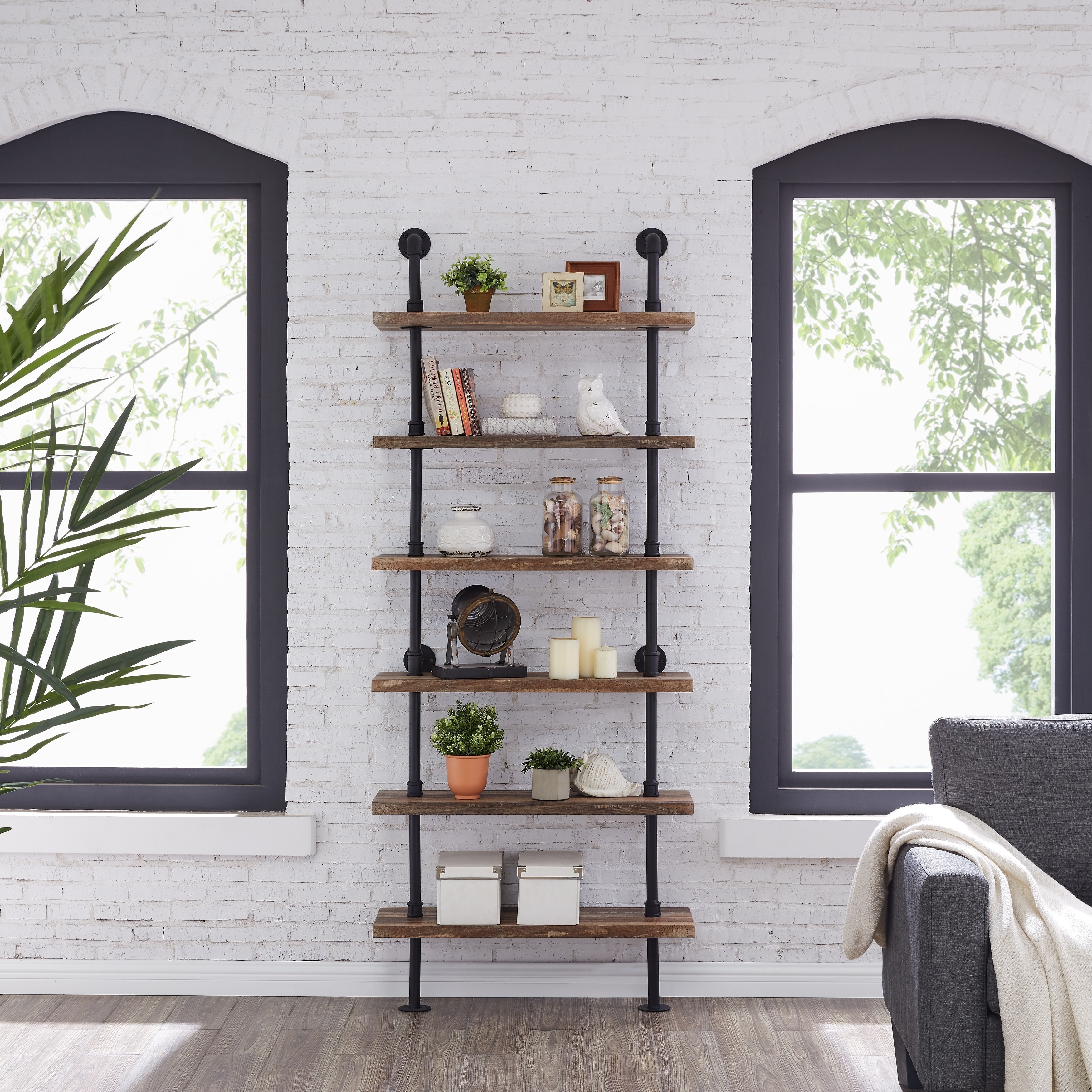 Danya B Industrial Pipe Wall Ladder Shelving Unit In Distressed Wood