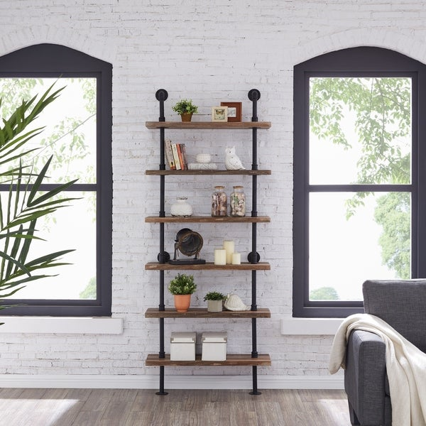 Industrial Style 6 Tier Modern Bookcase Storage Display Unit Bookshelf Furniture