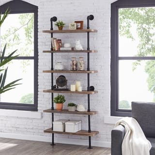 Danya B. Industrial Pipe Wall Ladder Shelving Unit in Distressed Wood