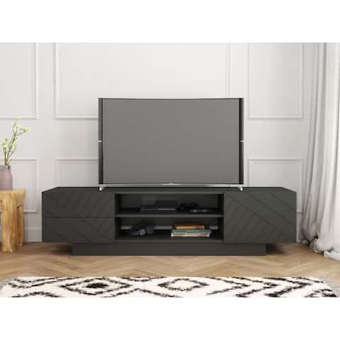 Nexera Galleri 72-inch TV Stand, Charcoal Grey