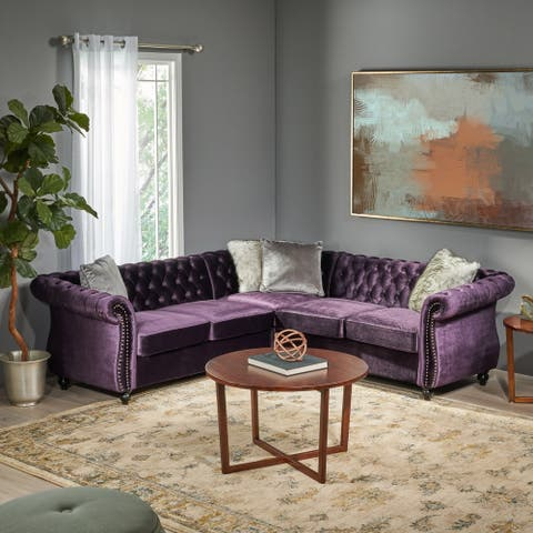 Amberside 5 Seater Velvet Tufted Chesterfield Sectional by Christopher Knight Home