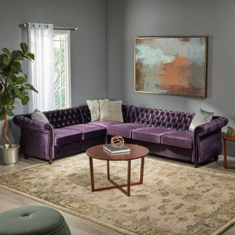 Amberside 6 Seater Velvet Tufted Chesterfield Sectional by Christopher Knight Home