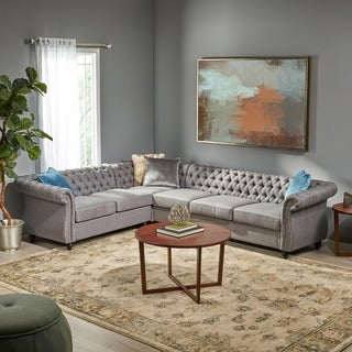 Amberside 6 Seater Fabric Tufted Chesterfield Sectional by Christopher Knight Home