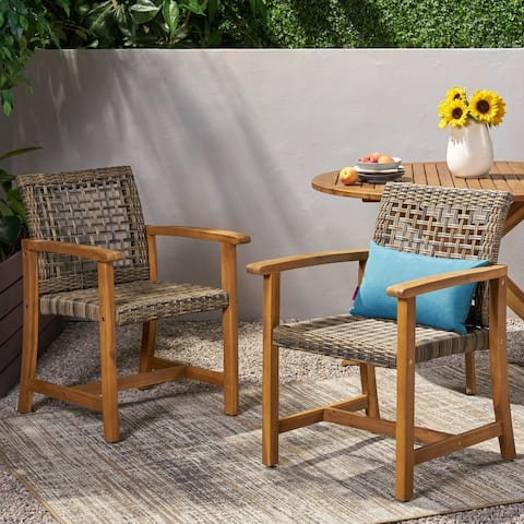 Hampton Outdoor Acacia Wood and Wicker Dining Chair (Set of 2) by Christopher Knight Home
