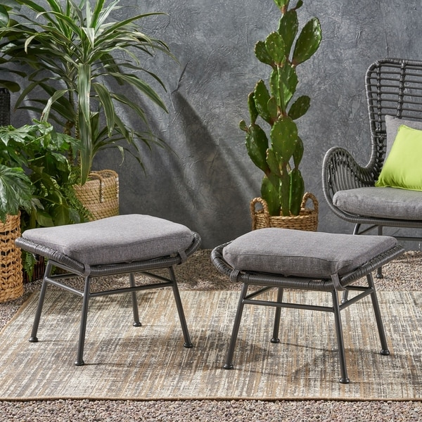 Montana Outdoor Modern Boho Wicker Ottoman (Set of 2) by Christopher Knight Home. Opens flyout.