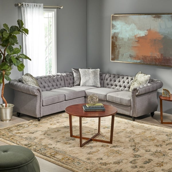 Amberside 5 Seater Fabric Tufted Chesterfield Sectional by Christopher Knight Home