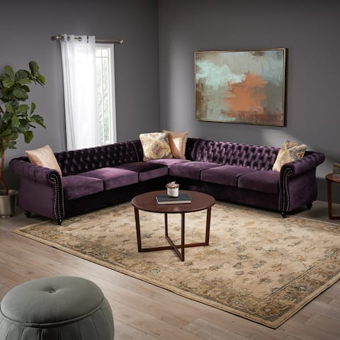 Amberside 7 Seater Velvet Tufted Chesterfield Sectional by Christopher Knight Home