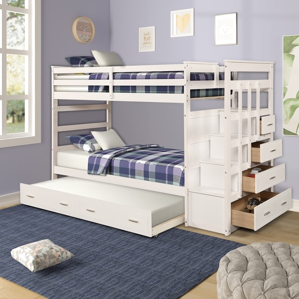 Shop Harper Bright Designs Twin Over Twin Bunk Bed With Trundle