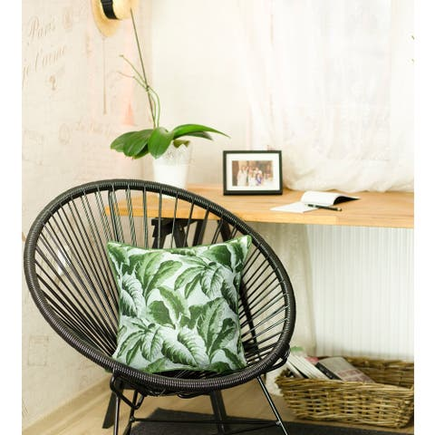 Porch & Den Montauk Jacquard Green Leaf Throw Pillow Cover