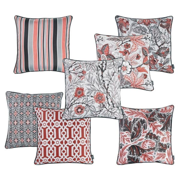 Porch Den Findley Pink Grey Striped Jacquard Throw Pillow Overstock 28533392