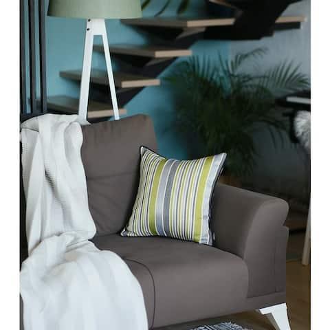 Porch & Den Findley Green Striped Jacquard Throw Pillow Cover
