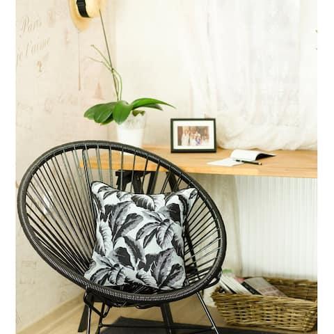 Porch & Den Montauk Jacquard Black Leaf Throw Pillow Cover
