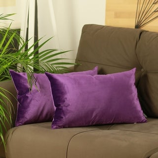 Silver Orchid Pickford Velvet Purple Decorative Throw Pillow Cover