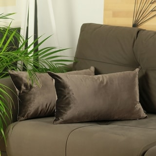 Silver Orchid Pickford Velvet Carob Brown Decorative Throw Pillow Cover