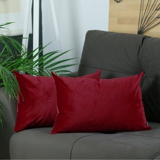 Silver Orchid Pickford Velvet Red Decorative Throw Pillow Cover
