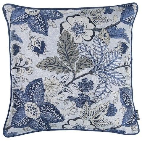 Porch & Den Dawnwood Botanical Blue Throw Pillow Cover