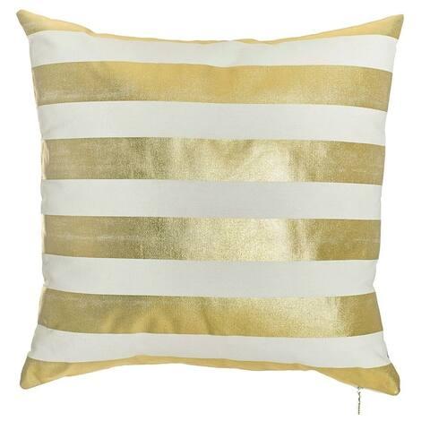 Porch & Den Heidi White/ Gold Stripes Throw Pillow Cover