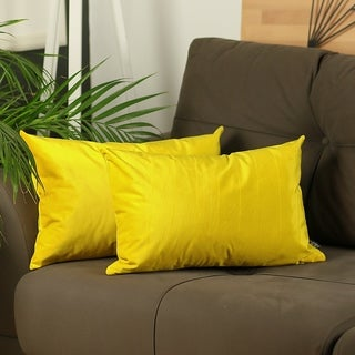Silver Orchid Pickford Velvet Yellow Throw Pillow Cover