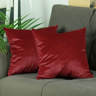 Silver Orchid Arco Velvet Carmine Red Decorative Throw Pillow Cover