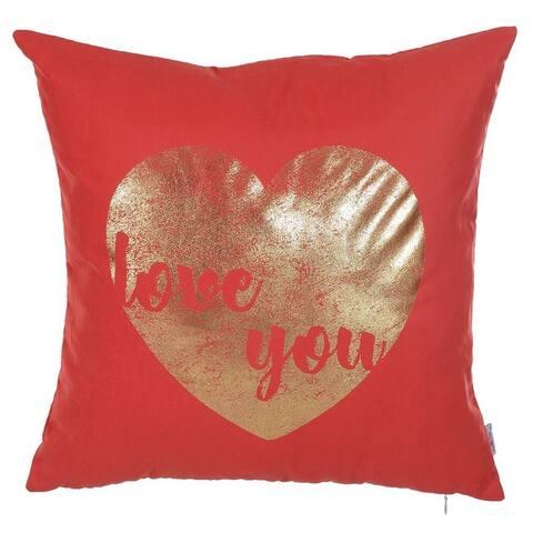 Porch & Den Heidi Square Gold Heart-printed Throw Pillow Cover