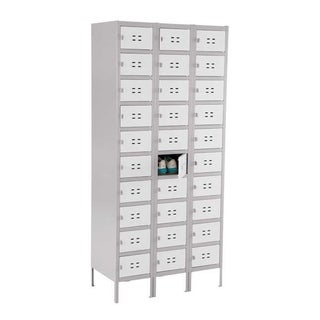 Safco 10 Tier 3 Column Steel Storage Locker - Gray - N/A