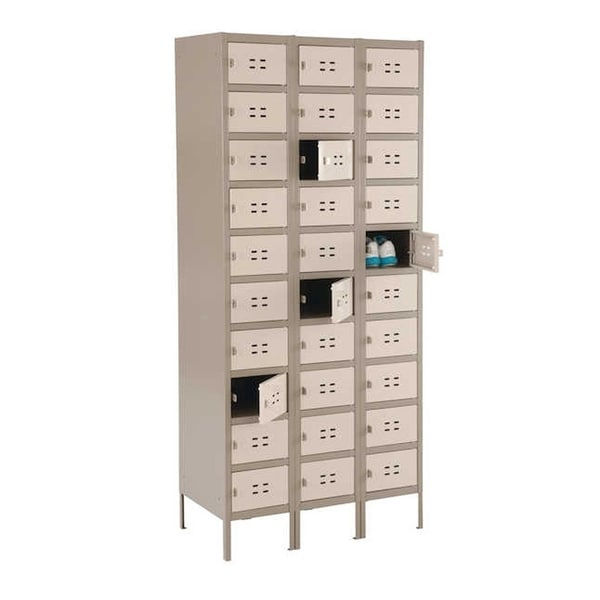 Safco 10 Tier 3 Column Steel Storage Locker - Tan - N/A