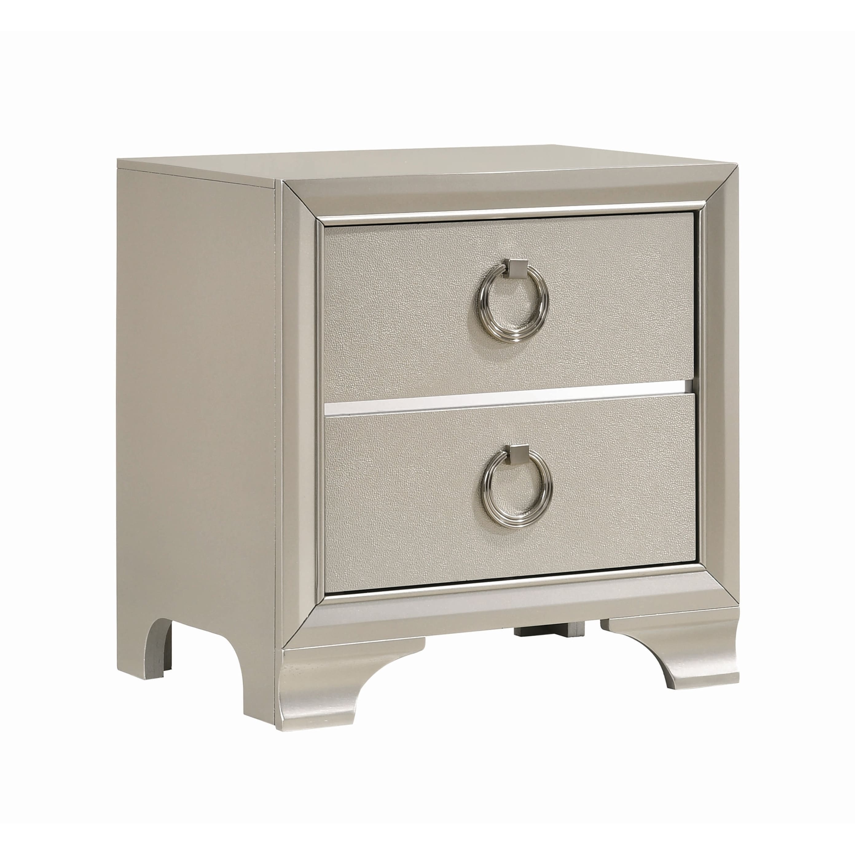 Wooden Nightstand With Two Drawers And Oversized Ring Handles Silver