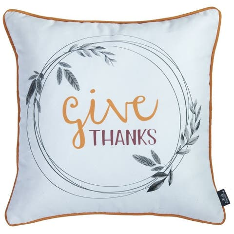 Thanksgiving Pie Printed Decorative Throw Pillow Cover 18''x 18''