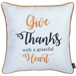 Thanksgiving Quote Printed Decorative Throw Pillow Cover 18''x 18''