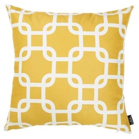 Porch & Den Pembrook Yellow Lattice Throw Pillow Cover
