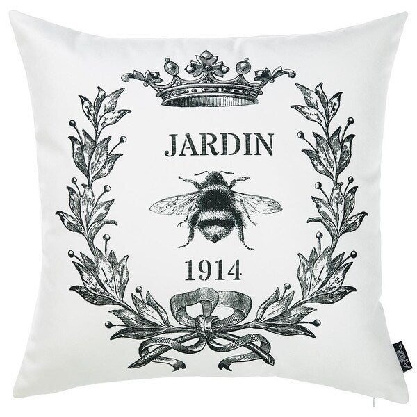 Porch Den Black And White Jardin Bee Print 18 Inch Throw Pillow Cover Overstock 28533955
