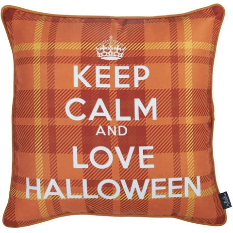 Love Halloween Printed Decorative Throw Pillow Cover 18''x 18''
