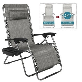 "Upgrade Extra Wide Zero Gravity Chair Lounge Chairs Lawn /w Cup Holder Portable Recliner for Beach - 24"" Extra Width"
