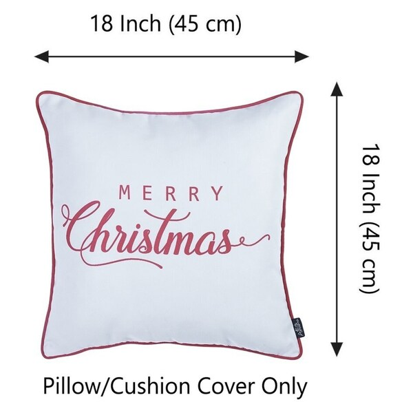 """Merry Christmas Red Quote Throw Pillow Cover Christmas Gift 18""""x18"""""""