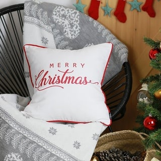 "Merry Christmas Red Quote Throw Pillow Cover Christmas Gift 18""x18"""