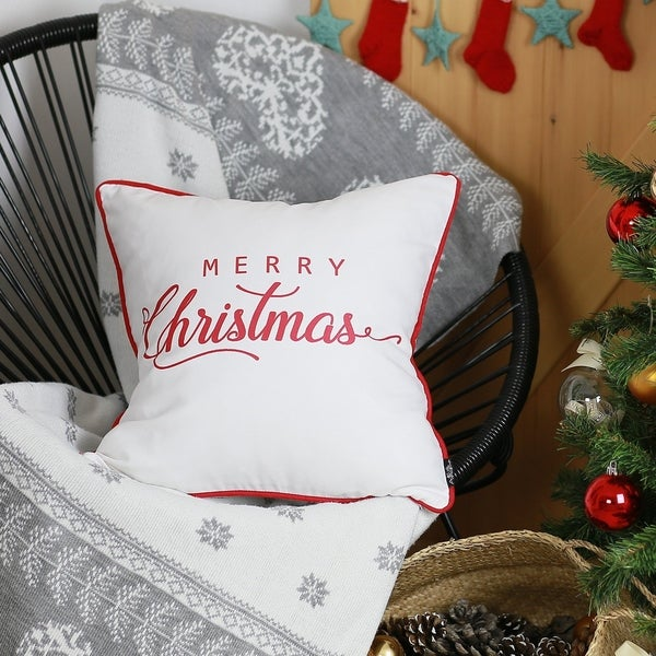 """Merry Christmas Red Quote Throw Pillow Cover Christmas Gift 18""""x18"""". Opens flyout."""