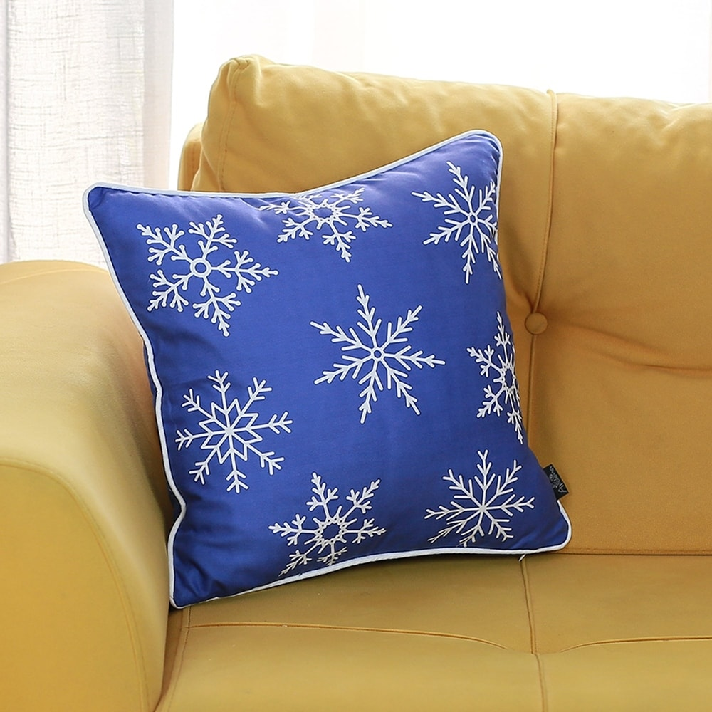 Blue & Gold Christmas Tree Throw Pillow