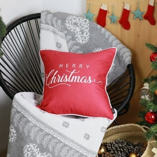 """Merry Christmas White Quote Throw Pillow Cover Christmas Gift 18""""x18"""""""
