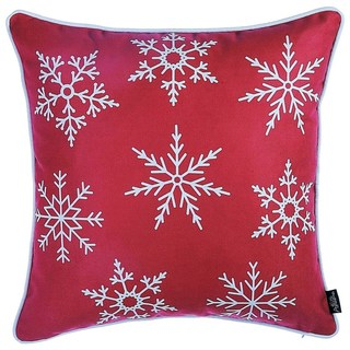 Christmas Red Snowflakes 18-inch Throw Pillow Cover