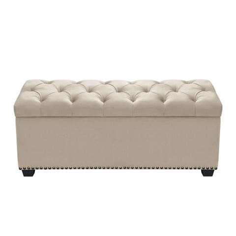 Velvet Upholstered Button Tufted Trunk with Lift Top Storage and Nail head Accent Trim, Beige