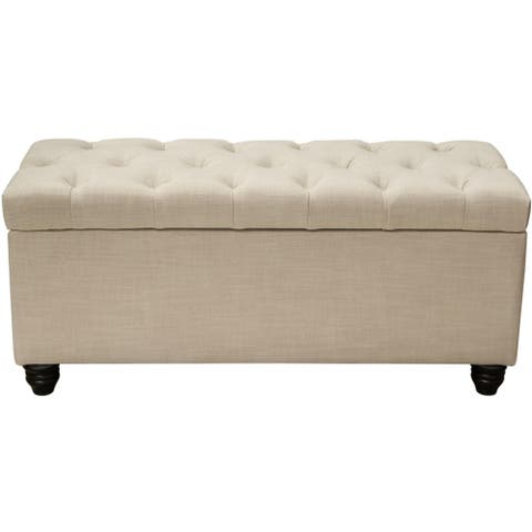 Linen Tufted Trunk with Lift Top Storage and Wooden Bun Feet, Beige and Brown