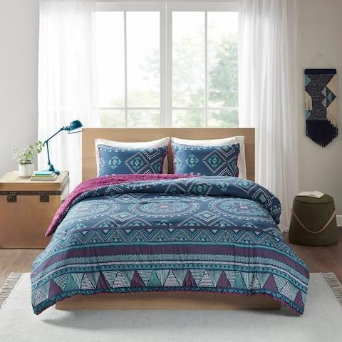 Intelligent Design Blair Navy/ Purple Reversible Comforter Set