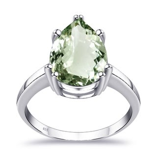 Orchid Jewelry 4 7 Ctw Natural Green Amethyst Sterling Silver Ring