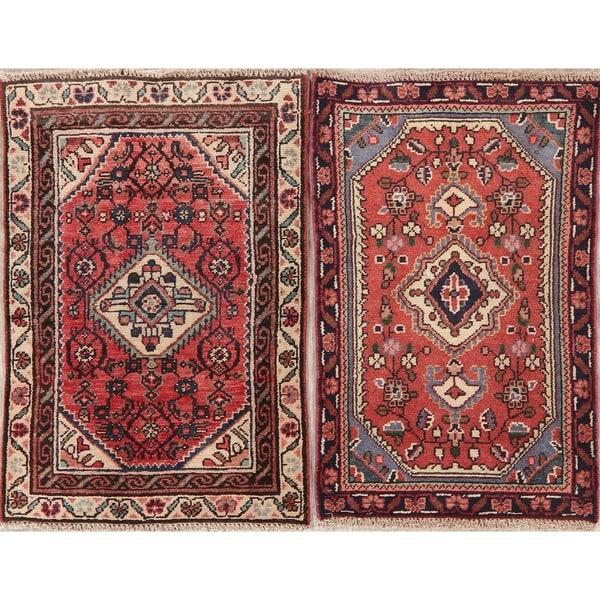 "Set of 2 Vintage Hamedan Oriental Hand Knotted Wool Persian Area Rug - 2'6"" x 1'9"""